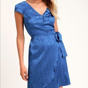 Lulus Iconic Cobalt Blue Satin Mini Dress